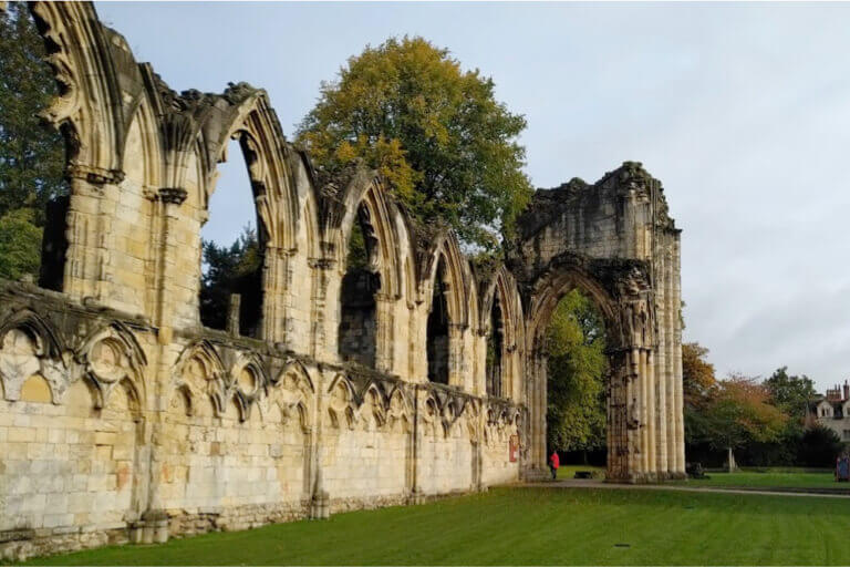 The historic Abbey Ruins in Museum Gardens in York